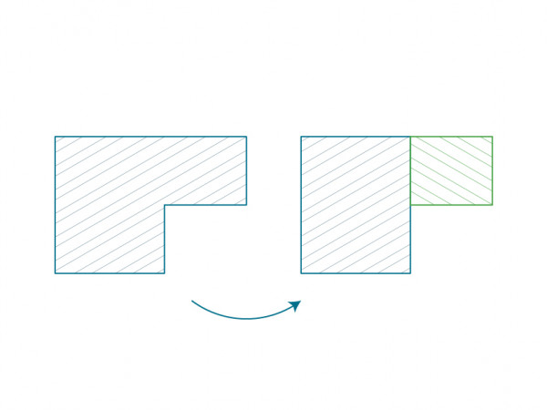 L shaped room can be measured as two rectangles